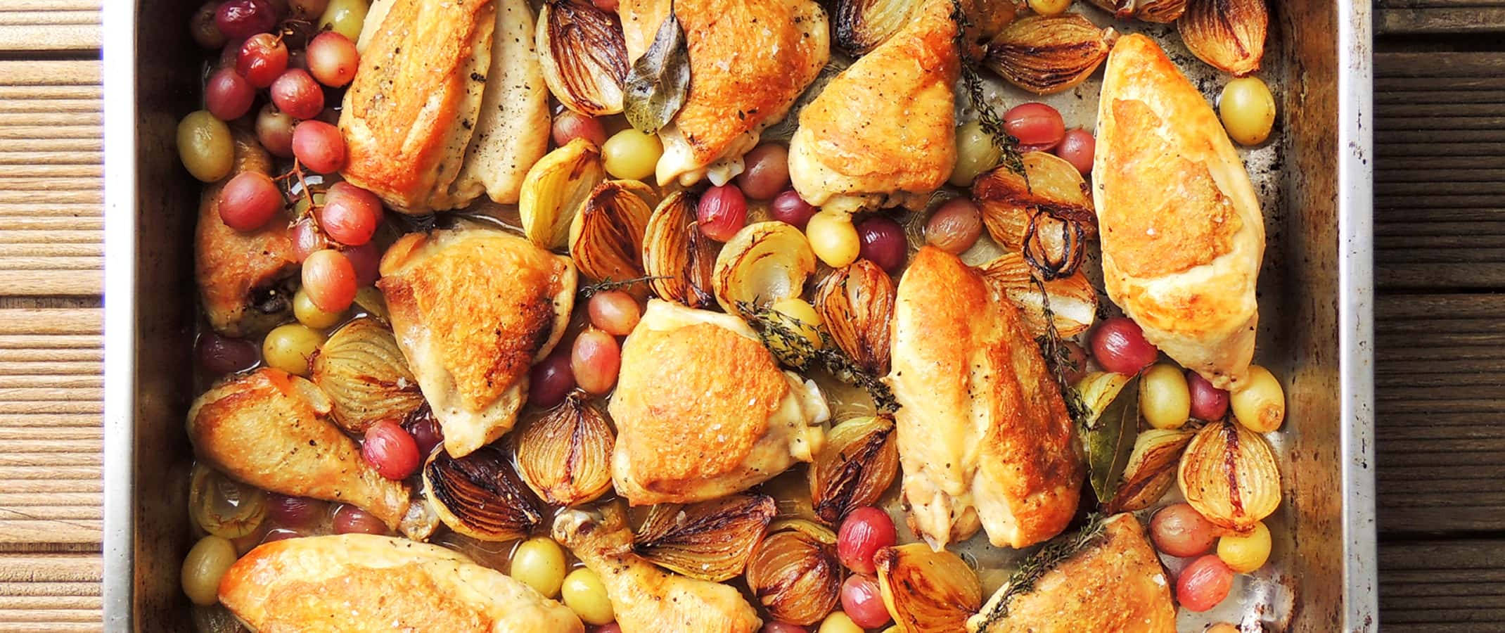 Chicken with Roasted Onions, Grapes & Verjuice